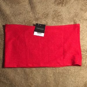 TOPSHOP RED TUBE TOP